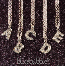 FUNKY CRYSTAL DIAMANTE INITIAL NECKLACE CUTE KITSCH RETRO BLING VTG NAME GIFT UK