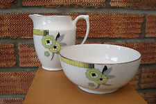 Czechoslovakia China Bohemia Sugar Bowl & Milk Jug/Creamer -  Art Deco Style