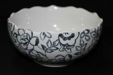 """222 FIFTH """"LACE LABYRINTH"""" FLORAL SOUP/CEREAL BOWLS - BLACK/WHITE - S/4"""