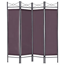 Brown 4 Panel Room Divider Privacy Folding Screen Home Office Fabric Metal Frame