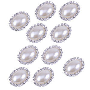 10x Crystal Rhinestone Oval Faux Pearl Shank Buttons Costume Sewing Crafts DIY