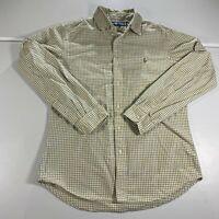 Polo Ralph Lauren Button Up Shirt Adult Medium M Yellow Blue Long Sleeve Mens