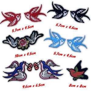 Flying Birds Aqua colourful birds fashion stylish Iron/Sew on Embroidered Patch