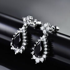 HUCHE Pear Black Sapphire Crystal White Gold Filled Lady Dangle Party Earrings