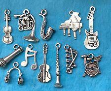 12 x MUSICAL INSTRUMENTS CHARM SET - Xylophone, Piano, Clarinet Tibetan Silver