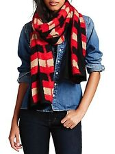 Lucky Brand - Womens - NWT $59 - Black & Red Textured Geometric Arrow Scarf
