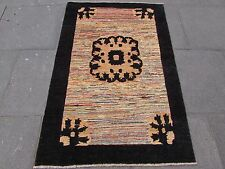 Traditional Hand Made Afghan Gabbeh Wool Black Gold Modern Rug 154x103cm