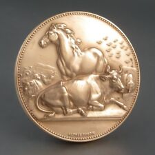 VintageFrench BronzeMedal Bas-Relief, Horse & Cow, Signed Alphée Dubois, 1971