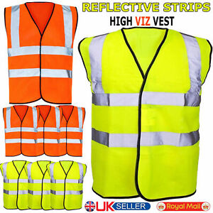 Hi Vis Viz Safety Vest Waistcoat High Visibility Safety Work Wear Yellow Orange