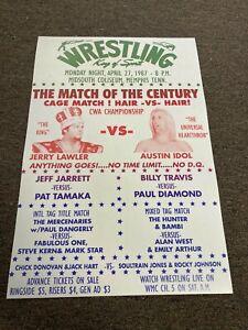 "1987 Memphis Wrestling Promo Poster Jerry Lawler Austin Idol Hair Match 12""x18"""