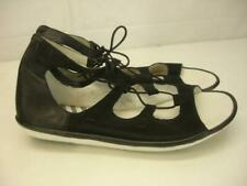 Women's 10 10.5 41 FLY London Mura Black Leather Gladiator Sandals Flats Lace-Up