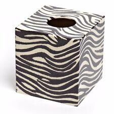 Zebra Print Tissue Box Cover wooden handmade in UK