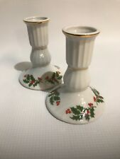 Set Of White Christmas Candleaticks With Ivy Made In Japan