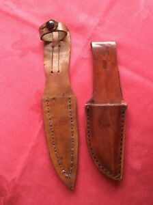 Two Vintage Small Leather Knife Dagger Scabbards or Sheaths