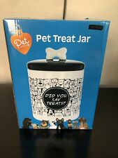 """Pet Central Pet Treat Ceramic Jar with Silicone Ring on Lid 9"""" Tall 6"""" Diameter"""