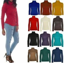 Womens Plain Turtle Neck Jumper Top Womens Full Sleeve Stretch Polo Neck Top