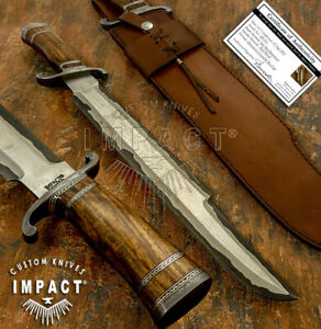 IMPACT CUTLERY RARE CUSTOM SAN MAI DAMASCUS PREDATOR BOWIE KNIFE BURL WOOD