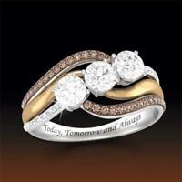 Mode Frauen Diamond Charm Geschenk Weißer Topaz Ring Citrin Hochzeit Schmuck