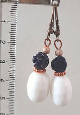 Copper tone earrings with white agate and blue roses in resin beads