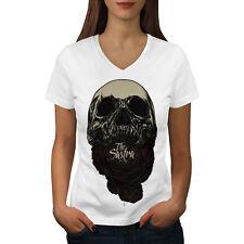 Wellcoda The Sastra Rose Skull Womens V-Neck T-shirt, Scary Graphic Design Tee