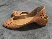 Corso Como Womens Cut Out Leather Slip On Ballet Flats Brown Size 7M/37,5
