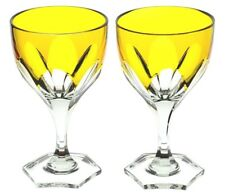Faberge Paris Yellow Gold Cut to Clear Small Wine Liqueur Brandy Goblets Pair *