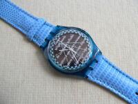2005 Solar Swatch Watch Happy Blue SRN100 Leather band