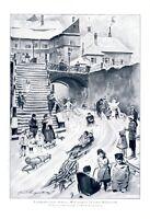 Wintersport in der Kleinstadt XL 1926 Kunstdruck Langenberg Schlitten Kinder Eis