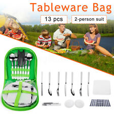13Pcs Cutlery Bag Storage Set With 2x Plates Forks Spoons Camping Picnic  !!