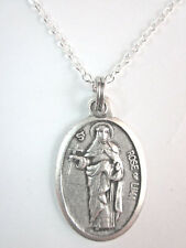 """StRose of Lima Medal Italy Pendant Necklace 20"""" Chain Gift Box & Prayer Card"""