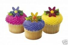12 Daisy Cupcake Rings - Cake Decoration Party Bags - Pink Yellow Mauve