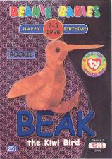 TY Beanie Babies BBOC Card - Series 2 Birthday (BLUE) - BEAK the Kiwi Bird -NM/M