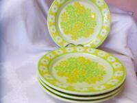 FRANCISCAN Vintage PICNIC 4 Pc DINNER PLATES Green-Yellow EXCELLENT 1970's USA