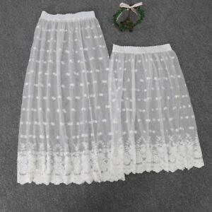 Lace Half Slip Sheer Flower Embroidered Elastic Waist Mesh Petticoat Underskirt