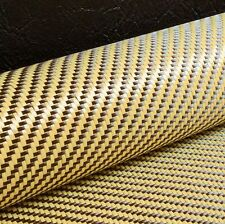 CARBON Fibre Cloth YELLOW KEVLAR Hybrid Fabric 2x2 Twill Material [127cm x 28cm]
