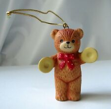 Cute Lucy & Me Christmas Bear Ornament W/ Cymbals Lucy Rigg 1980 - Enesco