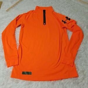 Under Armour Combine Training Mens 1/4 Zip Shirt Jacket Medium M Fitted Orange