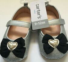 Carters Baby Girl Crib Shoes 9-12M Silver Black Bow New