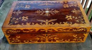 19th Century Lap Desk Inlaid Dark And Light Wood Cobalt Glass Inkwell