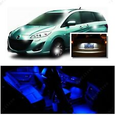 For Mazda 5 2006-2010 Blue LED Interior Kit + Xenon White License Light LED