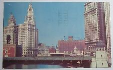1951 PHOTO POSTCARD THE CHICAGO RIVER LOOKING EAST CHICAGO ILLINOIS