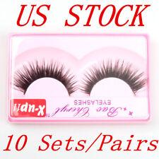 10 Set/Pairs Black Faux Mink Natural Cross Long Thick Eye Lashes False Eyelashes