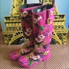 JOULES WELLIES Floral Bloom Printed High Shaft Pink Fushia Welly Rain Boots 8