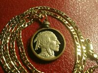 "1937 ""Black Gold"" Buffalo Nickel Pendant on 18KGF 24"" Gold Filled Chain"