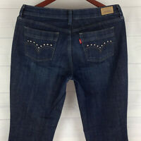 Levi's 515 Embellished Womens Size 8 Stretch Blue Dark Wash Bootcut Jeans in EUC
