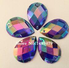 10 PC X cose en 25x18 mm Acrílico Pedrería Oscuro Azul AB Color Forma De Lágrima