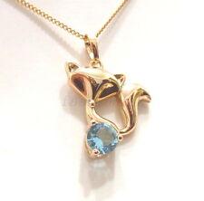 Moda 1uk Chapado en Oro 18K Azul Diamante Simulado Dama Fox encanto collar cadena