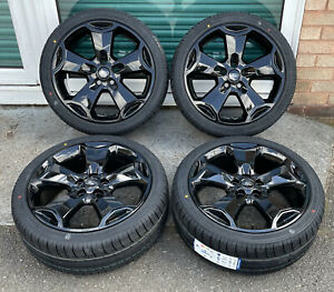 """18"""" FORD KUGA ST FOCUS MONDEO CONNECT BLACK ALLOY WHEELS NEW 225 40 18 TYRES"""