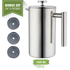 MIRA Stainless Steel Tea & Coffee French Press 34 oz with Bonus Set of 3 Filters