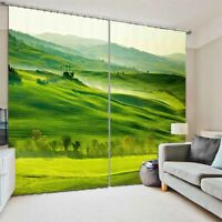 Green Mountain Terrace 3D Curtain Blockout Photo Printing Curtains Drape Fabric